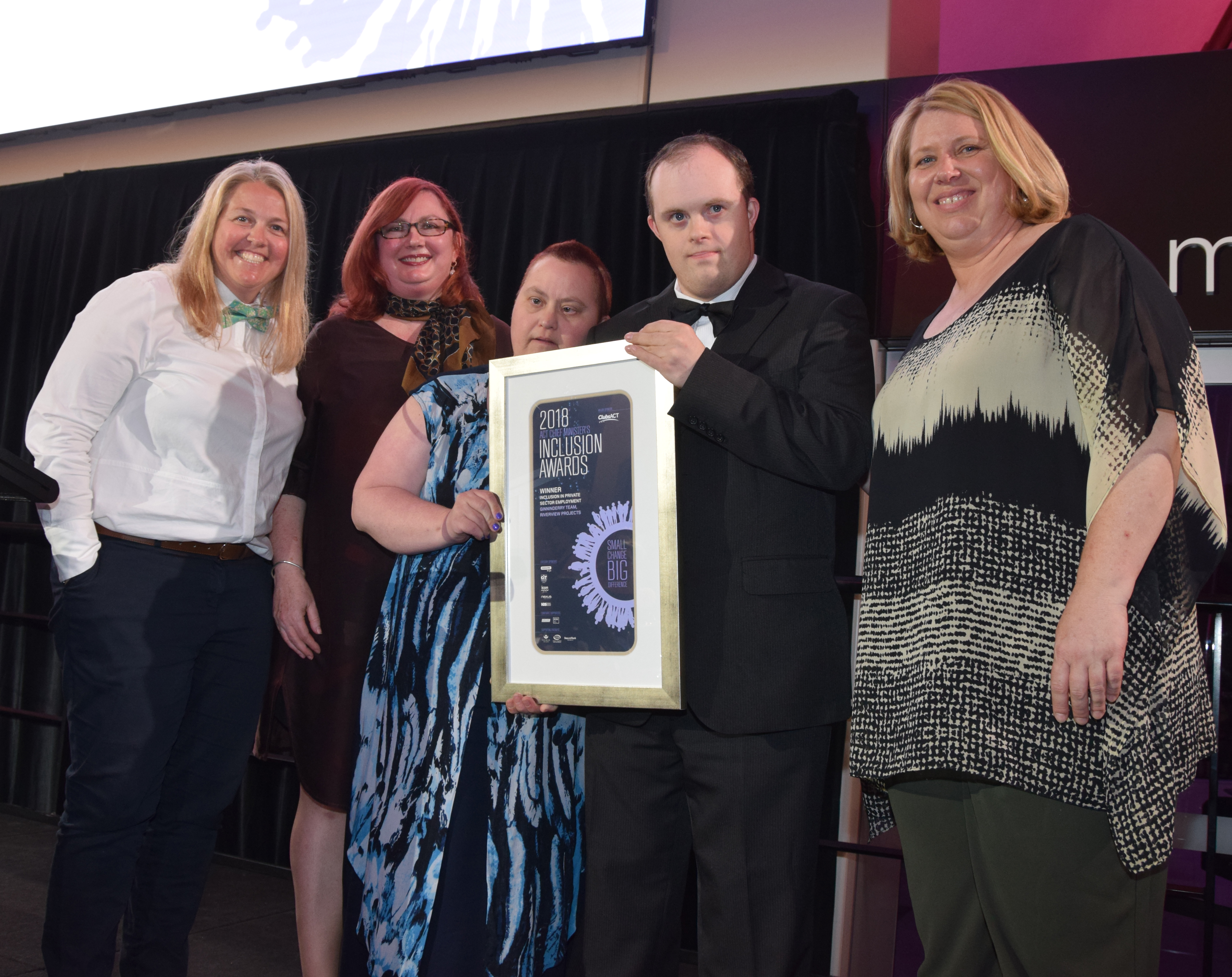 The Ginninderry Team, including Peter and Kathryn, hold their Award