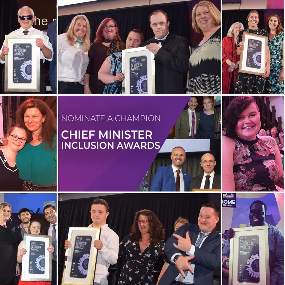 TEXT: Nominate a Champion - Chief Minister's Inclusion Awards ... IMAGE: Past winners holding their framed Award certificates